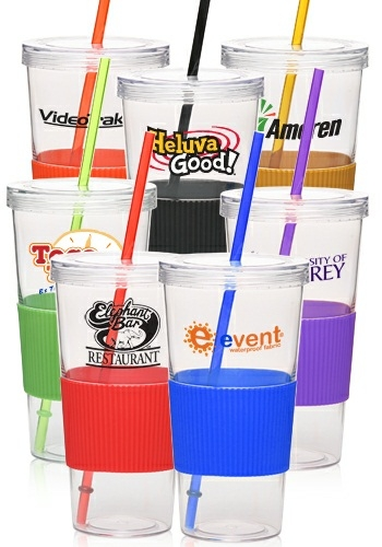 Picture of 28 oz Acrylic Tumbler with Straw and Grip